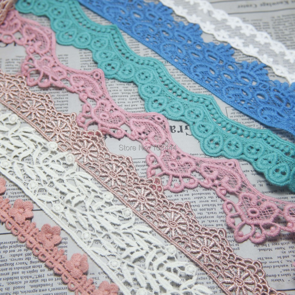 Lace trim fabric $0.99 1-2 yard/pack DIY sewing fabric accessories (water soluble lace,cotton lace,gauze embroidered lace)