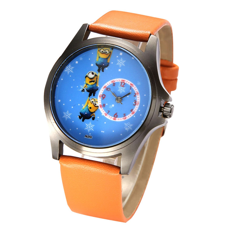 Despicable me leather watches cute cartoon minions watch for girls boys women cartoon watch for Despicable watches