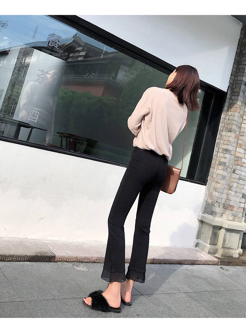 2019 Trousers Women High Waist Bell Bottom Metal Ring Flare Pants Wide Leg Pants Big Plus Size XL Black White Female Capris PP05 32