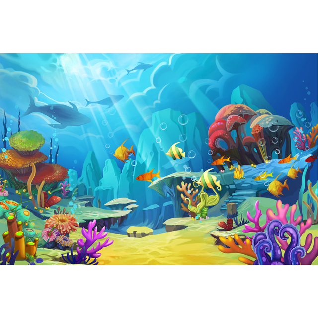 Sunshine Through Deep Blue Ocean Under The Sea Backdrop Cartoon Fishes Colorful Algae Little Mermaid Party