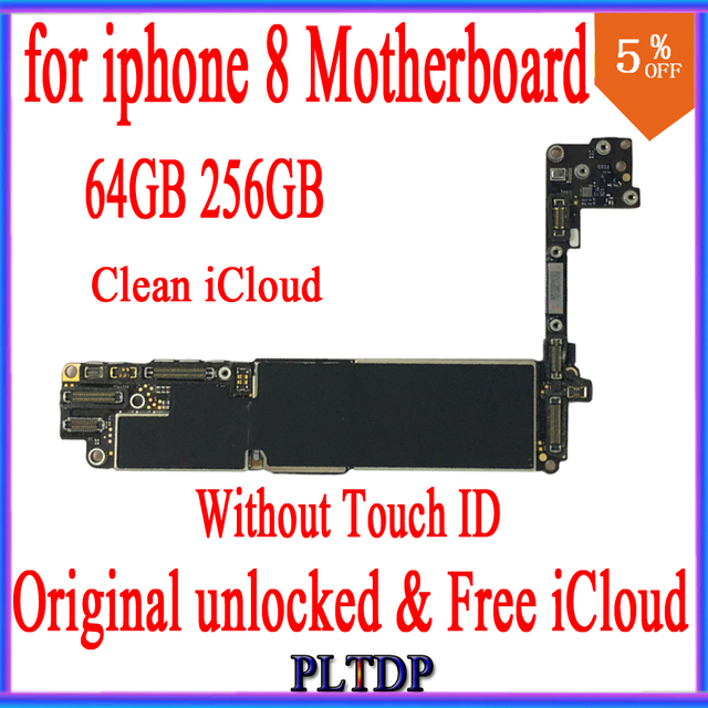 64GB 256GB for iphone 8 Motherboard with IOS System,100% Original unlocked Without Touch ID,Free iCloud