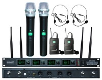 STARAUDIO 4CH Wireless UHF Microphone System 4 Channel Handheld & Headset Microphone Party Bar PA DJ Church Stage Mic SMU 4000AB