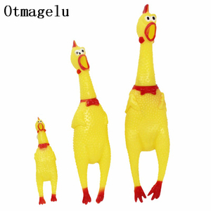 Funny Cartoon Rubber Screaming Chicken Big Dog Puppy Interactive Chewing Dog Toy Cleaning Teeth Dog Excited Pet Squeaker Toys(China)