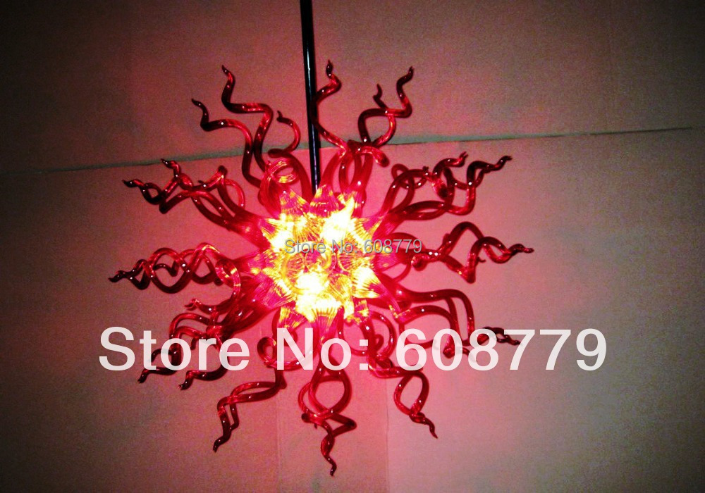 Sun Shape Pure Handmade Glass Red Chandelier For Kitchen