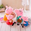 2016 New 19-30cm Pink Pig family Mom Dad George pig Peppaed doll toy Super Cute Family Plush puppets toy for kids brithday gift