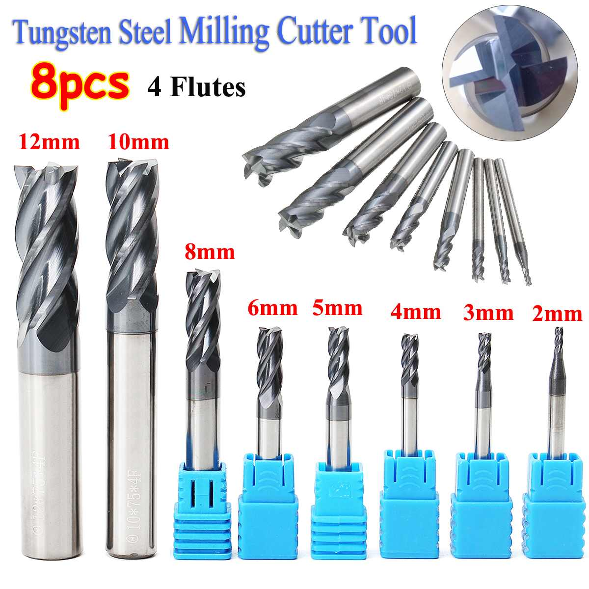 8pcs 2-12mm Carbide End Mill 4 Flutes Set Tungsten Steel Milling Cutter Tool