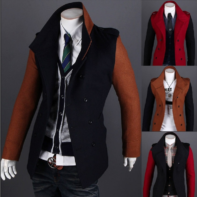 Navy Men Mandarin Collar Long Sleeve Simple Style Jacket Suit