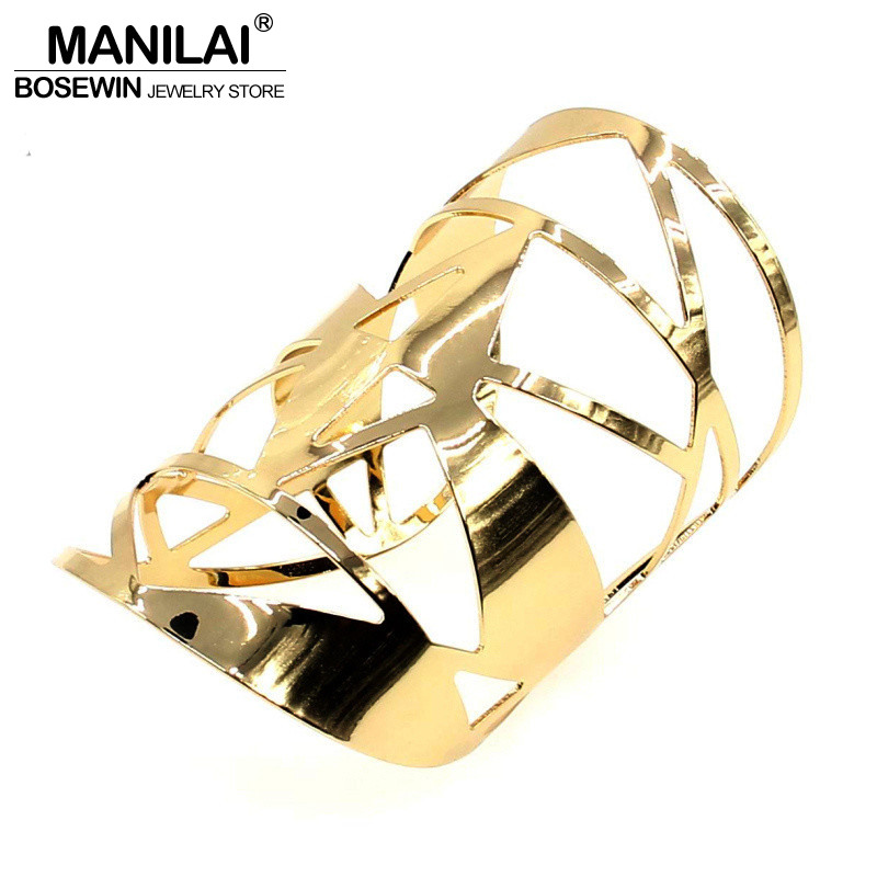 MANILAI Geometric Hollow Statement Jewelry Shiny Faceted Alloy Large Opened Cuff Bangles & Bracelets For Women Manchette BL149 hollow out round pattern alloy cuff bracelets