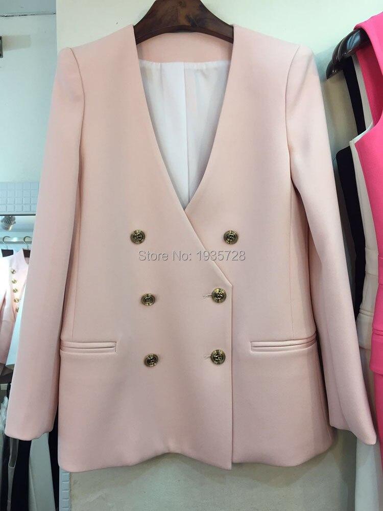 Femme V Blazer Manteau 2018 Boutonné Blanc cou Manches Noir Avant Designers À rose Classique Piste blanc Boutonnage Double Longues Logo Profonde Pour wrcrWnYqIT