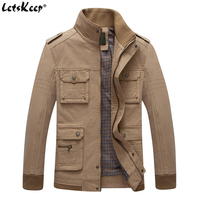 LetsKeep High Quality Military Windbreaker Jacket Men Stand Collar Loose Cotton Jacket And Coat Multi Pocket