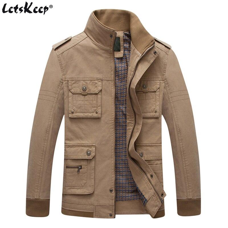 LetsKeep Tactical rompevientos chaqueta hombres soporte de cuello casual militar outwear coat mens otoño chaqueta de bolsillo de tamaño de la UE MA401