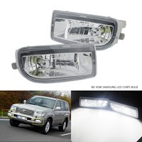 ANGRONG 2x For Toyota Land Cruiser Amazon 98 07 Front Fog Light Lamp With 45W HB4 LED Bulbs