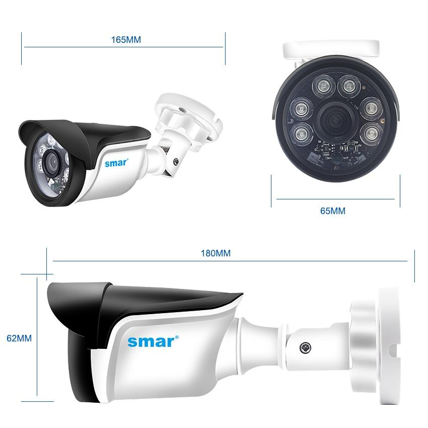 Smor 4CH system CCTV HDMI CCTV NVR 4 sztuk 1.0 MP/1.3MP/2.0MP zewnętrzna kamera bezpieczeństwa na podczerwień 6 sztuk Nano Leds kamera zestaw do nadzorowania