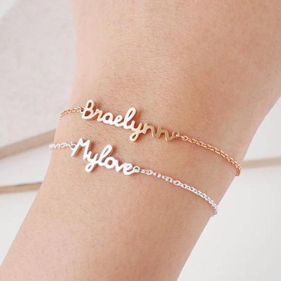FYB93 Engraved Jewelry Charm Handmade custom Bracelet Personalized Name Bracelet Signature Love Message Customized Gift prenom dans bracelet pour femme