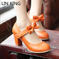 LIN KING Plus Size Women Lolita Princess Bow Thick Heel Pumps Cosplay Lourie Shoes Sweet Lady High Heel Round Toe Shoes Female