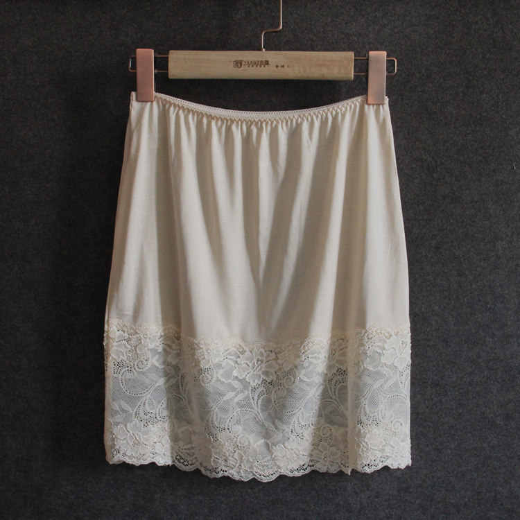 الأزياء جديد الصيف النساء سيدة الدانتيل نسج 100% الحرير نصف زلة ليلة تنورة YH210