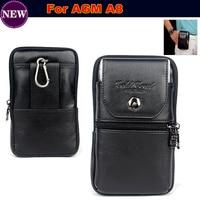 الفاخرة جلد طبيعي حمل حزام كليب الحقيبة الخصر محفظة حالة تغطية ل agm a8 للماء الهاتف المحمول حقيبة الشحن مجانا