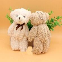 13cm Best selling bow tie plush toy joint bear cartoon teddy bear bag pendant wedding creative small gift bear toys WJ011 стоимость