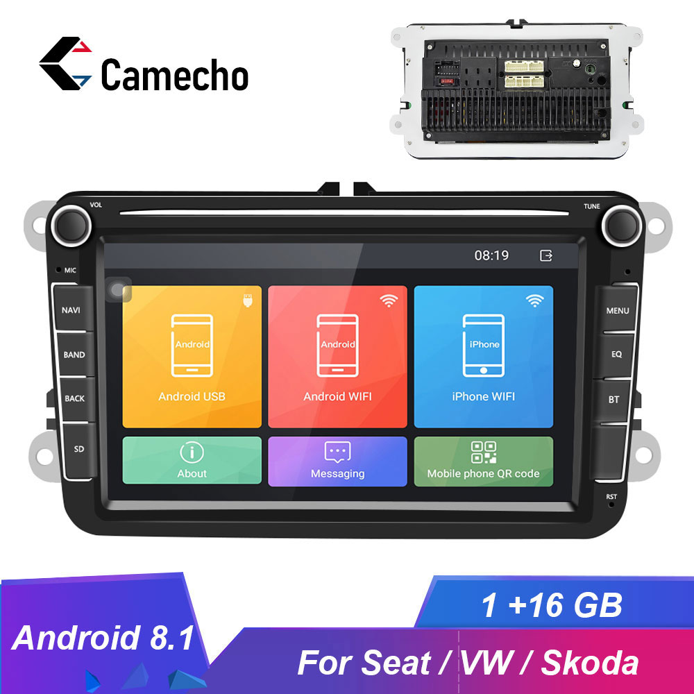 Camecho 8inch Android 8.1 Car Radios GPS MP5 Multimedia Player For Seat/Skoda/Passat/Golf/Polo Bluetooth Auto Radio Audio Stereo image
