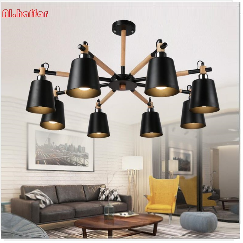 Nordic solid wood LED white/black ceiling Chandelier E27 With Iron Lampshade creative Lighting Fixtures  Colgantes WoodenNordic solid wood LED white/black ceiling Chandelier E27 With Iron Lampshade creative Lighting Fixtures  Colgantes Wooden