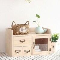 Creative desktop wood storage box drawer with door storage cabinet office desk storage box wooden rack wx10231509