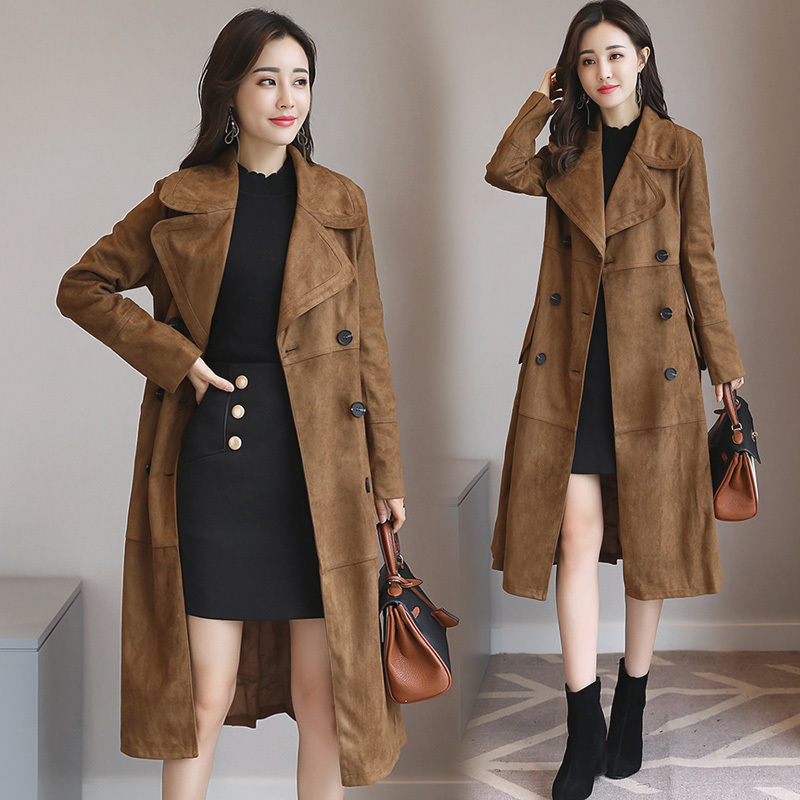 Newest Faux Suede Elegant Double Pocket Womens Long Designer Trench winter Fashionable stand collar Coat Women
