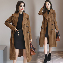 Newest Faux Suede Elegant Double Pocket Women's Long Designer Trench winter Fashionable stand collar Coat Women faux suede double breasted coat