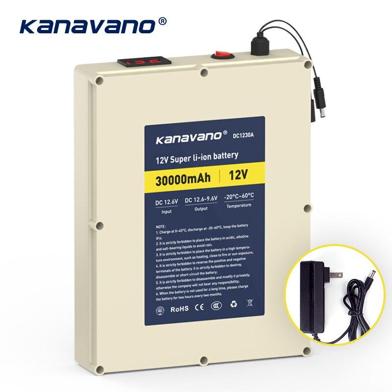 Kanvnano 12 v 30Ah grande capacité rechargeable batterie au lithium 18650 bloc-pile panneau de protection avec 5A chargeur cadeau bricolage ligne