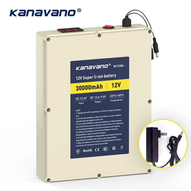Kanvnano 12v 30Ah large capacity rechargeable lithium battery 18650 battery pack protection board with 5A charger gift DIY lineKanvnano 12v 30Ah large capacity rechargeable lithium battery 18650 battery pack protection board with 5A charger gift DIY line