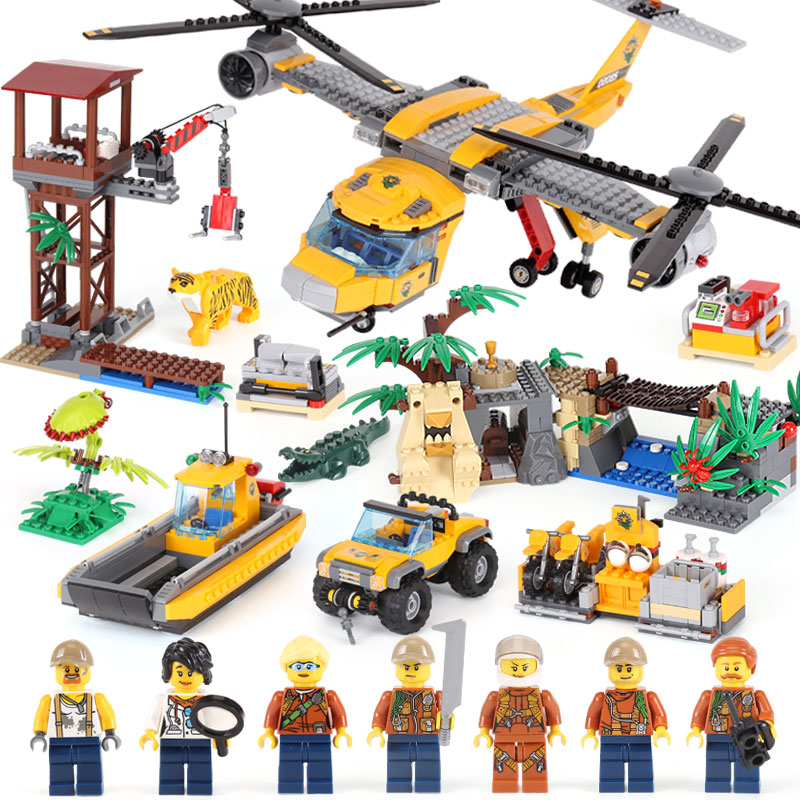 Lepin City Series 02085 The Jungle Air Drop Helicopter Set Compatible legoINGly 60162 stacking block model building kit action 1400pcs genuine city series the jungle air drop helicopter set compatible lepins building blocks bricks boys girls gifts