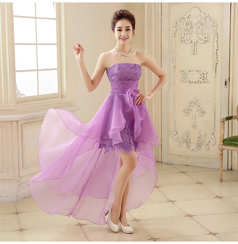 2017 New Arrival Evening Dresses Short Front Long Back Bride Gown Strapless Ball Prom Party Homecoming/Graduation Formal Dress