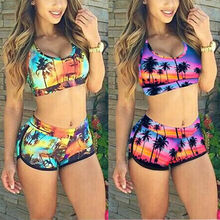 Sexy Swimsuit Women's Crop Top High Waist Shorts Floral Bikini Beach Swimwear Beachwear New недорого