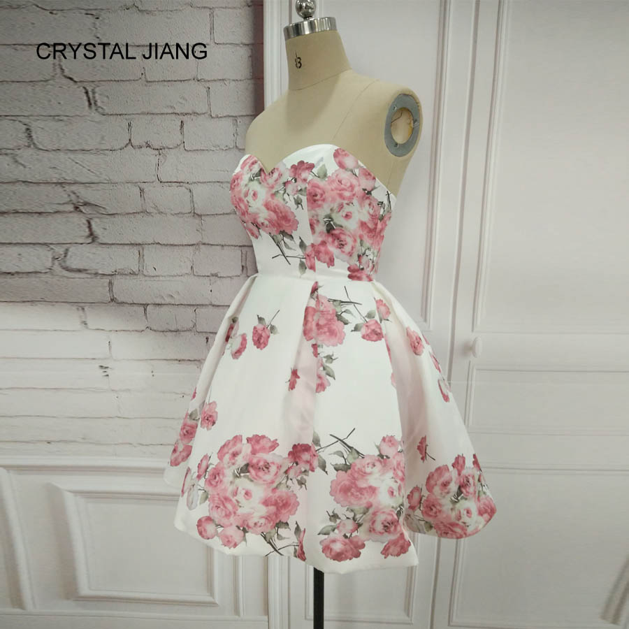 CRYSTAL JIANG 2018 Eenvoudig ontwerp Lieverd bloemenprint natuurlijke - Jurken voor bijzondere gelegenheden - Foto 4