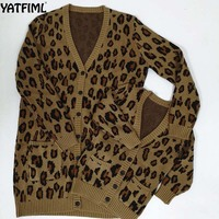 YATFIML 2018 mama and daughter matching family jacket mother daughter knitted coat leopard style Big sister and brother outwear
