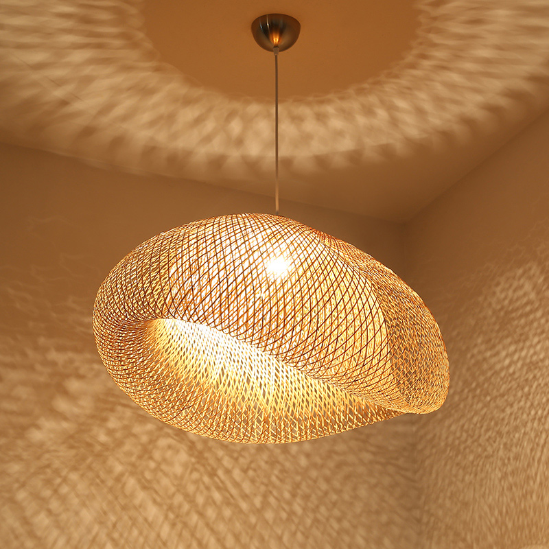 BDBQBL originalité vis bambou pendentif lumières AC90 260V E27 américain pendentif lampe pays chambre café Bar LED Hanglamp - 5