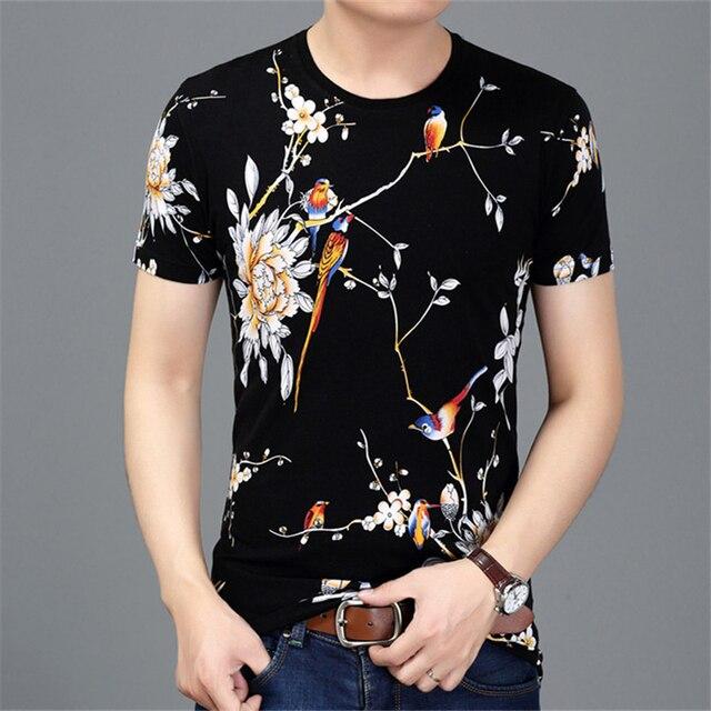 LH7815 中国スタイルクリエイティブフラワー鳥プリント半袖 tシャツ夏 2019 新最高品質綿の高級 tシャツ男性 M-3XL