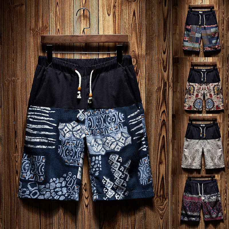 Men's Casual Flat Front Classic Fit Loose Cotton Short Summer Beach Shorts for Men with Elastic Waist Drawstring Band