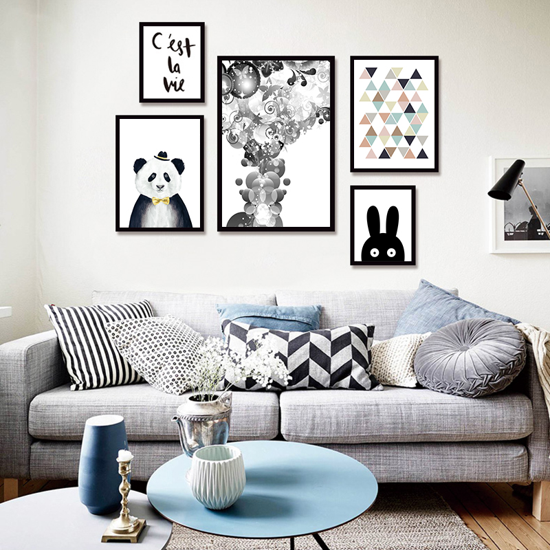 Modern canvas painting minimalist nordic black white kawaii animals large art prints poster kids room home decor wall picture in painting calligraphy from
