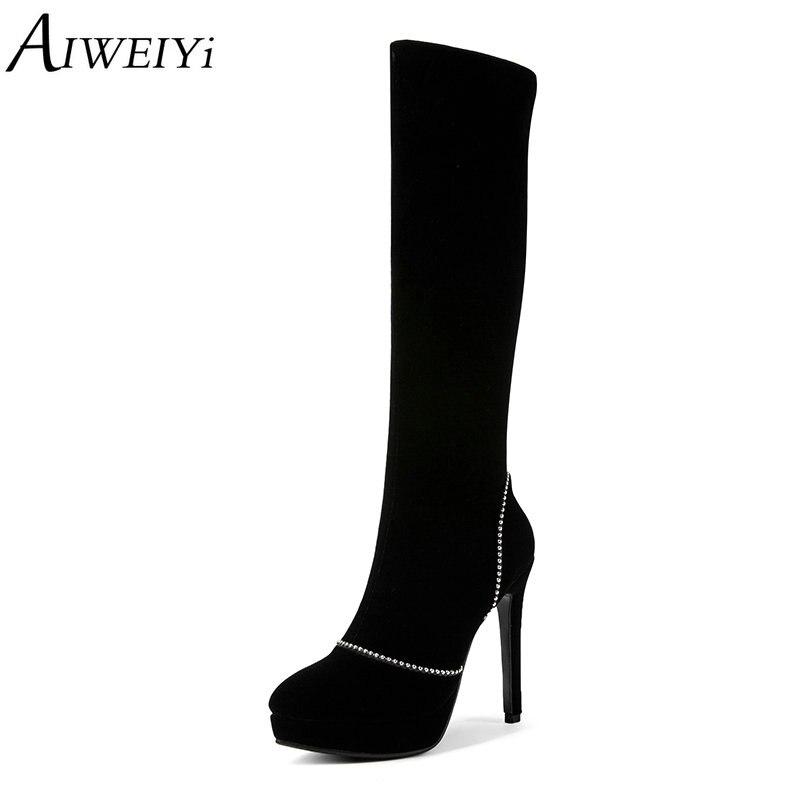 AIWEIYi noir sur les genoux bottes pour femmes troupeau bout rond talon mince talons hauts cuissardes bottes clouté Rivets bottes longues