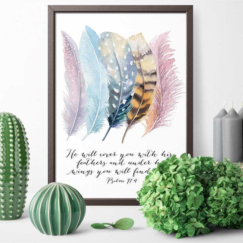 Versículo da bíblia salmo 91: 4 poster quadros em tela, pássaros penas escritura citações cristãs pintura em tela arte da parede decoração de casa