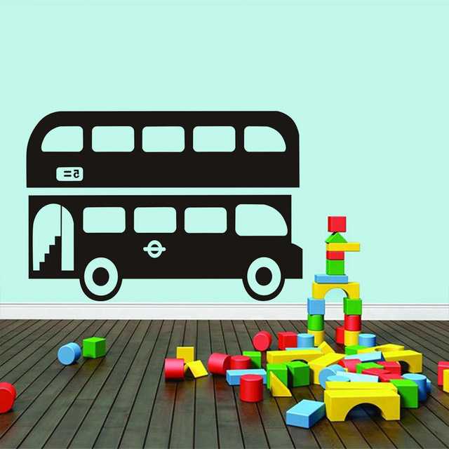 Large size city double decker bus wall stickers for kids rooms art removable vinyl mural boys