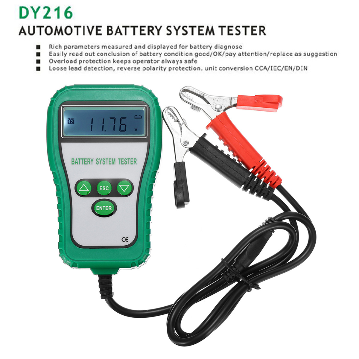 12V LCD Digital Battery Tester Analyzer Tester Cranking Alternator Battery System Amps Battery Resistance Voltage Life Analysis motopower grey 12v smart digital battery tester voltmeter alternator analyzer with lcd and led display for car motorcycle boat