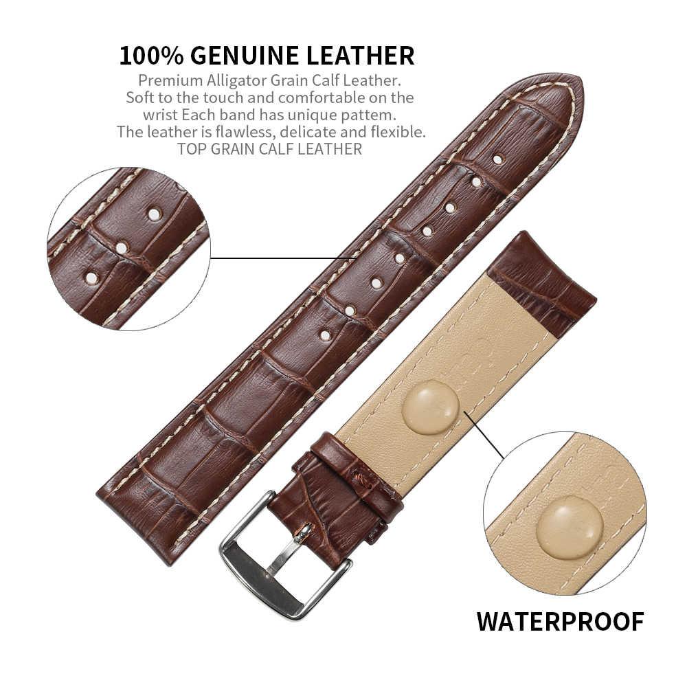 IStrap Watchbands עור אמיתי 12-24mm אוניברסלי שעון פין אבזם להקת פלדת אבזם רצועת יד חגורת צמיד עם כלי