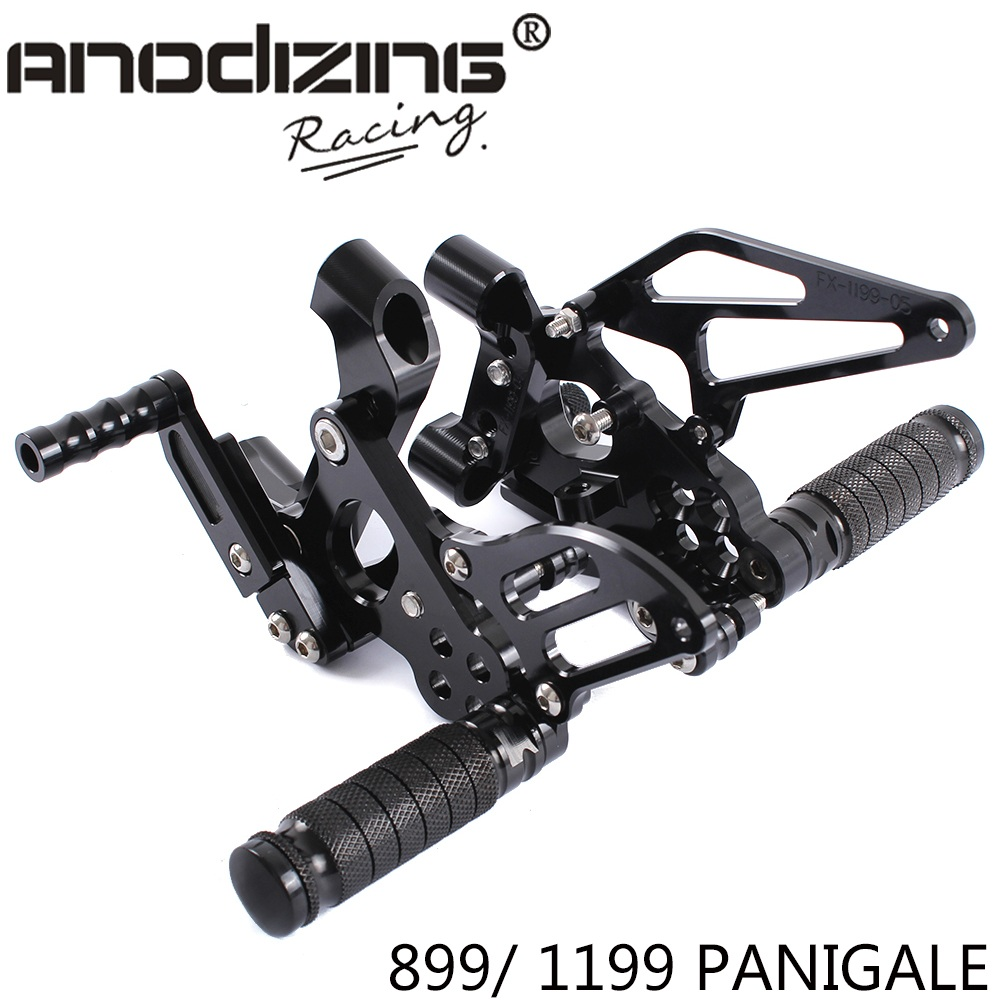 Full CNC Aluminum Motorcycle Adjustable Rearsets Rear Sets Foot Pegs For DUCATI 899 1199 PANIGALE 2012