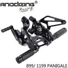 Полный ЧПУ Алюминиевый Мотоцикл Регулируемые задние наборы Задние подножки для DUCATI 899/1199 PANIGALE 2012