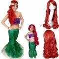 Hot moda a pequena sereia vermelho Curly cosplay anime perucas, crianças 60 cm peruca de cabelo partido, Adulto 80 cm perucas de cabelo sintético