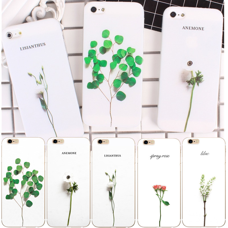 Phone Case Cover For iphone 6 6s 4.7 Case Capa Green Leave Plant Flower Painted Shell Phone Bags For iphone 5 5s 5se 7 8