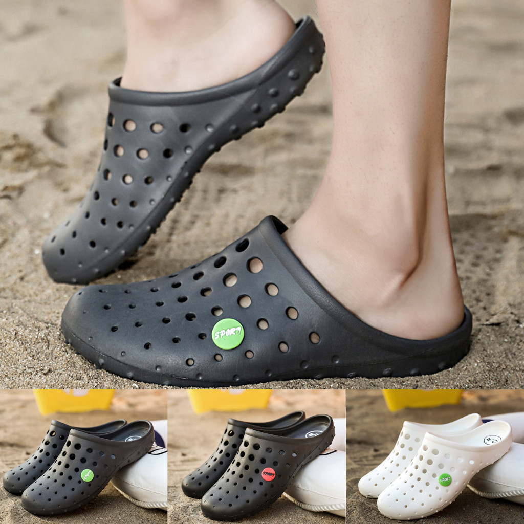NEW Men Breathable Sneakers Fahsion Flat Sandals Male Casual Footwear Slip On Summer Hole Shoes