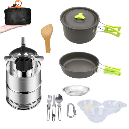 VILEAD Portable Camping Cookware Set Outdoor Hiking Bushcraft Cooking Tools with Folding Pot Pan Tableware Fork Spoon Wood Stove|Camping Cookware| |  - title=