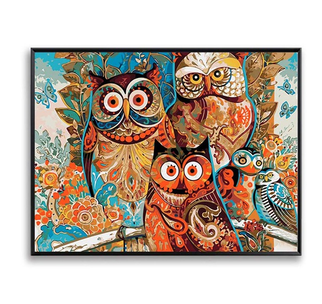 Canvas Picture Painting By Numbers Owl DIY Painting Coloring By ...